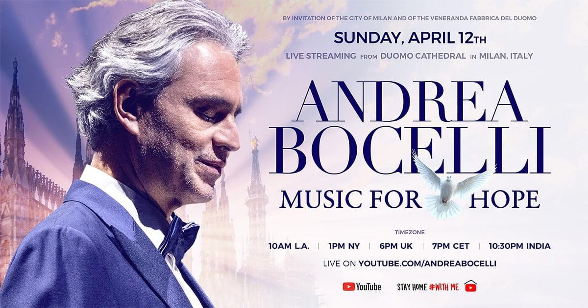 Andrea Bocelli, live din Domul din Milano, într-un concert special de Paştele Catolic